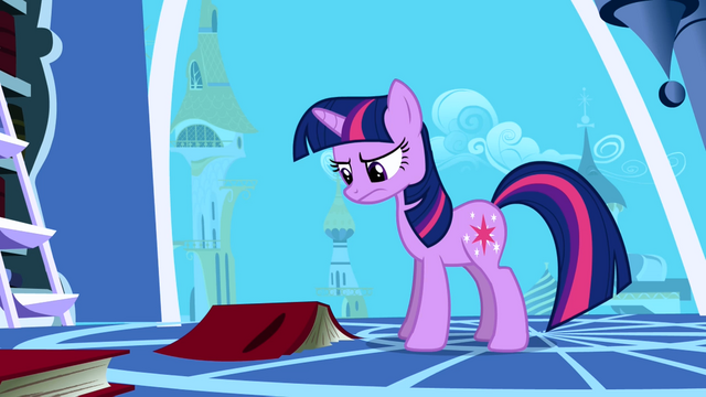 Файл:Twilight frowning at a book on the floor S1E01.png
