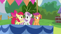 Apple Bloom and Sweetie Belle hoof-bump S7E21