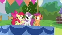 Apple Bloom and Sweetie Belle hoof-bump S7E21