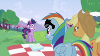 Applejack and Rainbow Dash looking at Twilight Sparkle S2E03