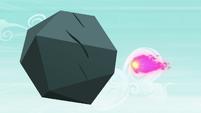 Ember's fireball flies toward the boulder S7E15