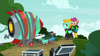 Lightning and Scootaloo land by the rocket S8E20