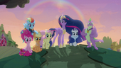 Mane Six and Spike on the hill at sunset S9E26
