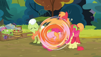 Pinkie and Applejack rolling S4E09