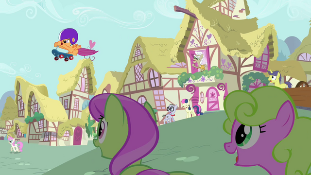 File:Ponies noticing Scootaloo in the air S3E6.png