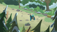 Queen Chrysalis in brightly lit forest S9E8