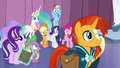 Rainbow, AJ, Rarity, and Fluttershy shocked S6E2.png