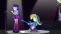 Rainbow Dash sliding on stage EG2
