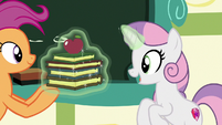Scootaloo giving books to Sweetie Belle S9E22