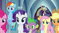 Twilight's friends smiling in support S9E24