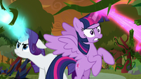 Twilight and Rarity blast the vines S9E2