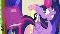 Twilight giddily trots past Fluttershy S5E23