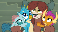 Yona, Ocellus, Gallus, and Smolder hear Silverstream S8E2