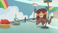 Yona crashing into basketball hoops S9E7
