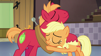 Young Applejack and Big McIntosh hugging S6E23