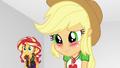 Applejack blushing at Rarity EGROF.png