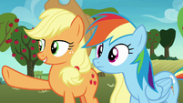 Applejack pointing over the hill S8E5