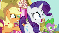 Applejack shoving Rarity forward S8E18