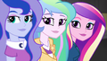 Celestia, Luna, and Cadance look at Wondercolts EG3.png