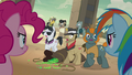 Daring Do, Rainbow, and Pinkie surround Dr. Caballeron S7E18.png