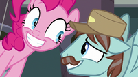 Janitor Pony grins nervously at Pinkie Pie S7E23