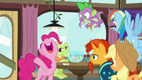 "Pinkie Pie happily shouts ""present!"" S9E16"
