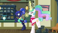 Princess Celestia looks at pocketwatch S9E13