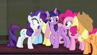 Rarity aghast at Twilight's suggestion S6E9