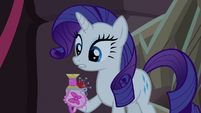 Rarity with spool, pincushion, and sleep mask S8E25