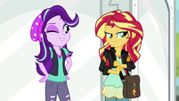 Starlight Glimmer winking at Sunset Shimmer EGS3