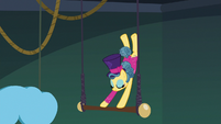Trapeze star flipping on the trapeze bar again S6E20