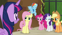 Twilight Sparkle's friends smiling at her S7E2