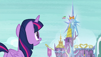 Twilight watches Spike and Smolder fly S8E24