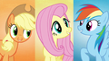 "AJ, Fluttershy, and Dash sing ""and we'll make"" S5E3.png"