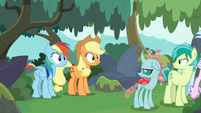 AJ and Rainbow staring back in surprise S8E9