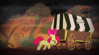 Apple Bloom pushing pie cart S4E17