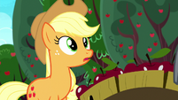 Applejack hears Pinkie Pie approaching S8E18