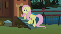Fluttershy checks the chicken coup for the CMC S1E17