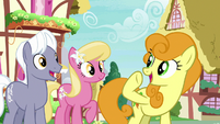 Golden Harvest gestures toward Princess Ember S7E15