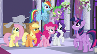 Mane Six and Spike hear Discord S9E17