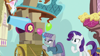 Maud Pie next to cart of Pinkie's things S8E18