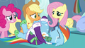 Pinkie, Applejack, and Fluttershy worried S5E5.png