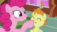 Pinkie Pie boops Pumpkin Cake's nose S7E19