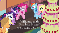 Pinkie Pie thanking friends for getting the cake to the train S2E24
