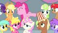 Pinkie spilling popcorn on other spectators S4E24.png