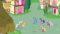 Ponies gathering around Princess Ember S7E15