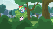 Rainbow Dash on top of Pinkie Pie EG3