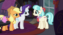 Rarity and Applejack happy to help Coco S5E16