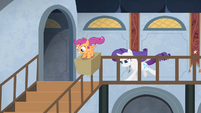 Scootaloo sliding down the stairs S4E19