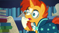 "Sunburst translating ""at the base of Foal Mountain"" S7E25"